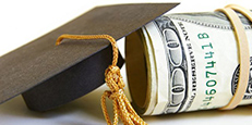 Graudation cap and roll of money