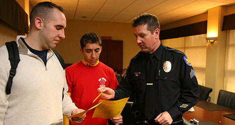 Officer with potential students