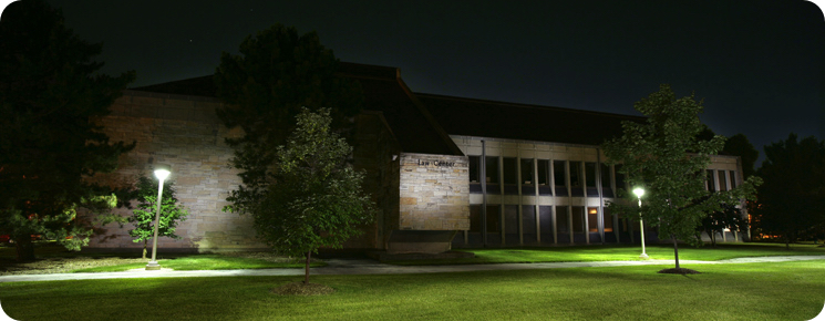 Law Center Exterior at Night