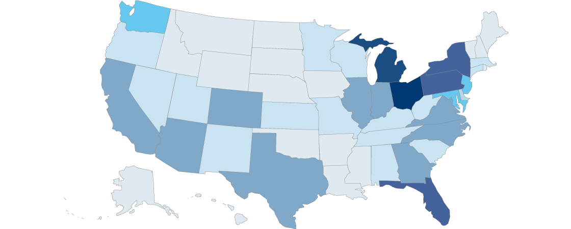 US Map showing law alumni