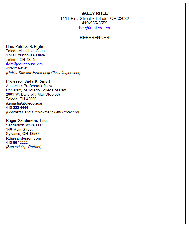 reference letter cover sheet