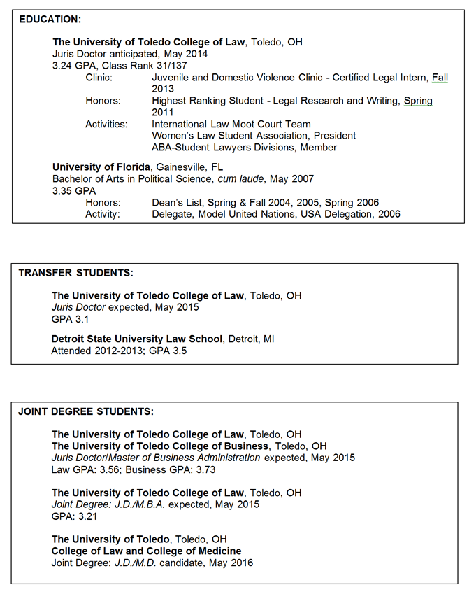 Formatting Your Education  Law Student Resume