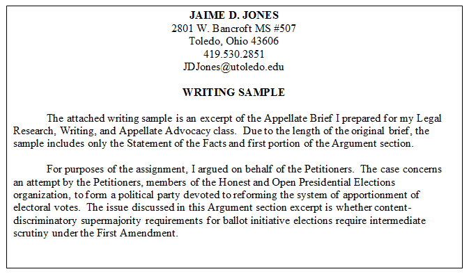 legal writing samples excerpt example