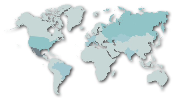 World map in blue hues