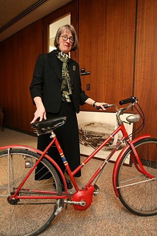 Barbara Floyd showed off a bicycle fitted with a three-speed Dana transmission circa 1970. The bike is among the Dana Holding Corp. items now housed in the Canaday Center for Special Collections
