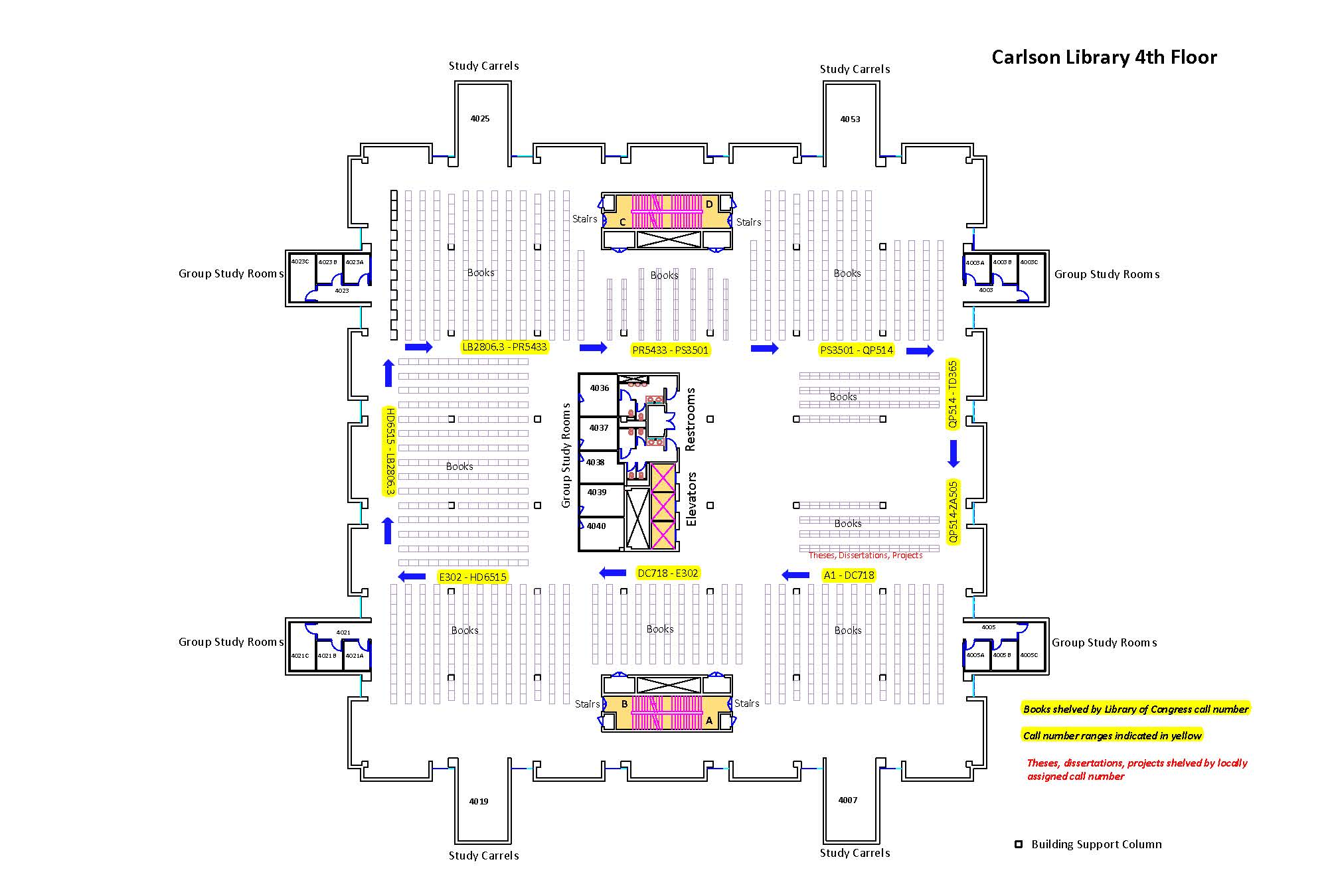 Carlson Library Fourth Floor Map