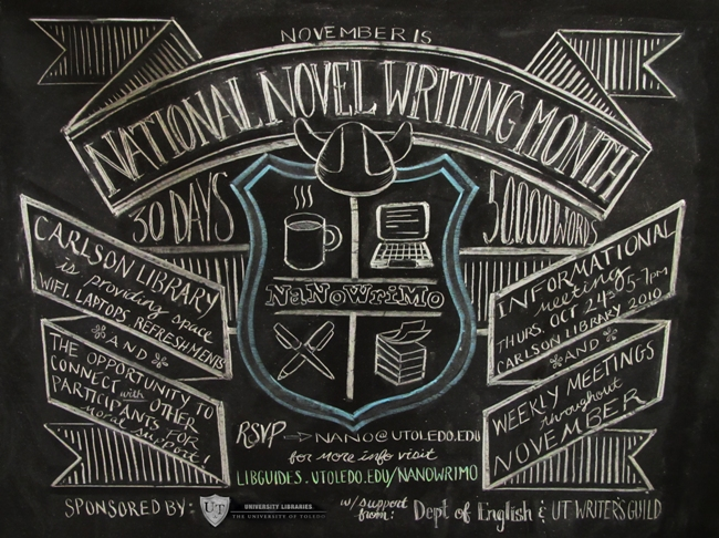 NaNoWriMo Chalkboard Illustration
