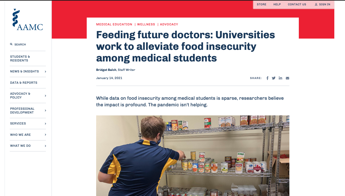 The University of Toledo's food pantries were recently featured in an article for the Association of American Medical Colleges (AAMC) website.