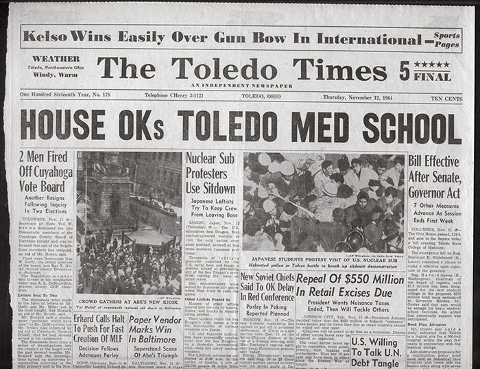 The Toledo Times in 1964 announces Ohio General Assembly approves college