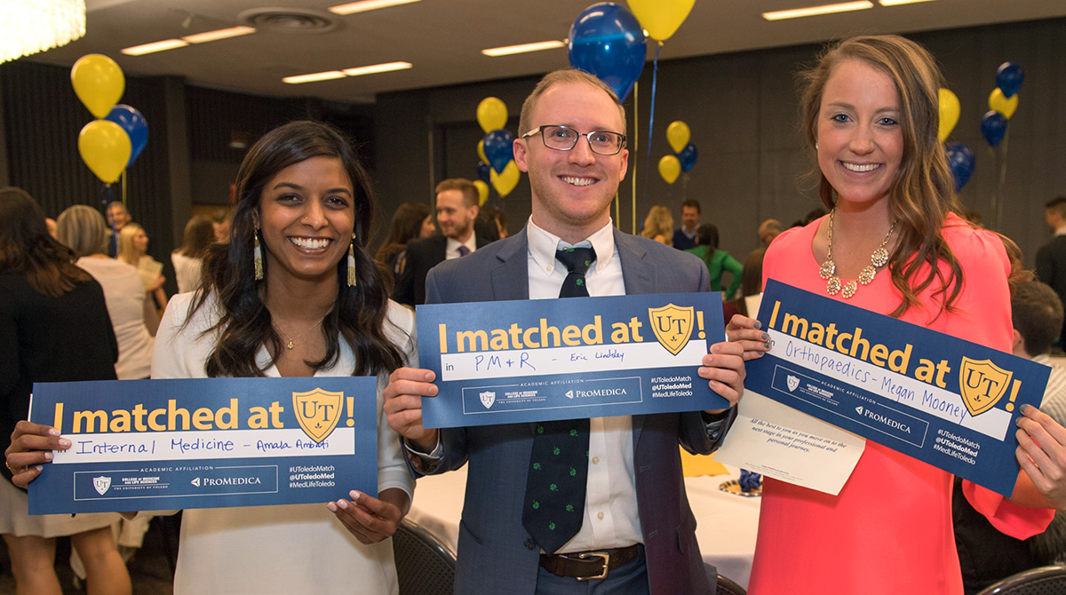 Amala Ambati, left, Megan Mooney and Eric Lindsley all matched at The University of Toledo. Ambati will study internal medicine, Mooney will focus on orthopaedics, and Lindsley will work in physical medicine and rehabilitation.