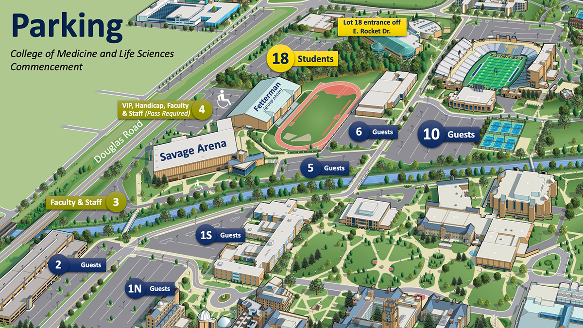 Map for College of Medicine parking on Main Campus