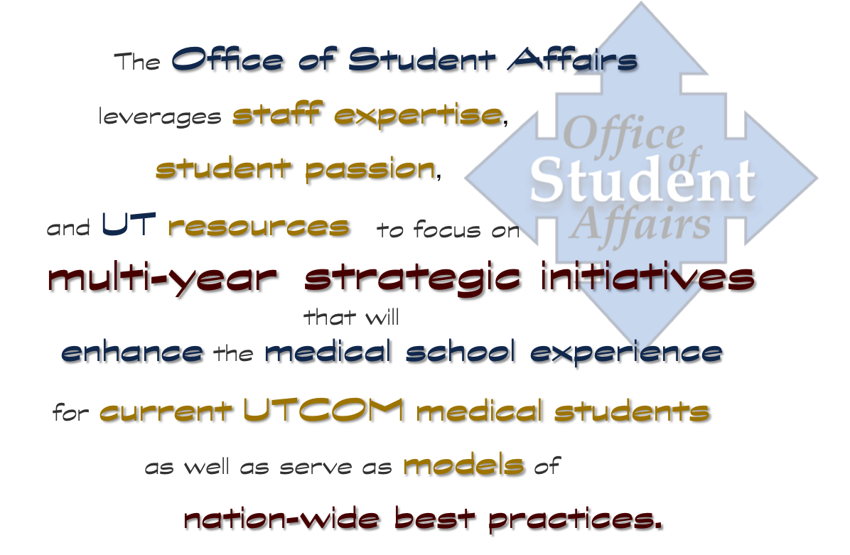 The Office of Student Affairs leverages staff expertise, student passion and UT resources to focus on multi-year, strategic initiatives that will enhance the medical school experience for current students as well as serve as models for nation-wide best practices.