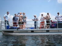LEC researchers on boat