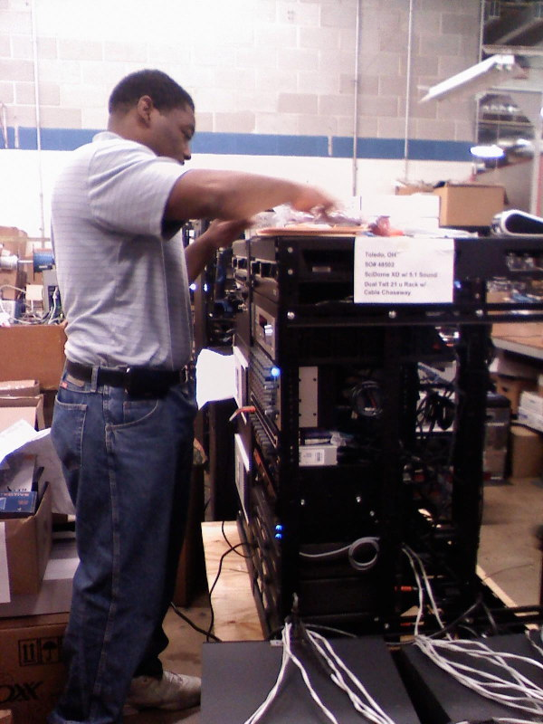 A Spitz technician works on our system.