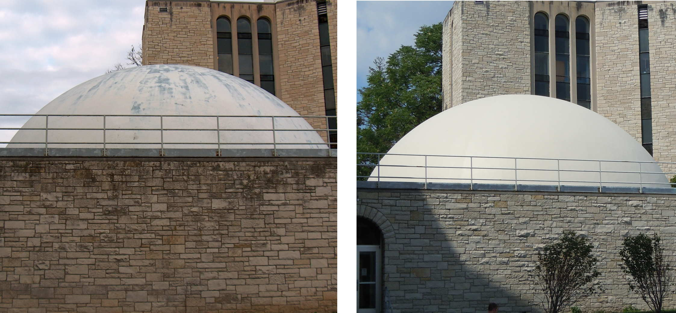 The planetarium dome before and after its repainting