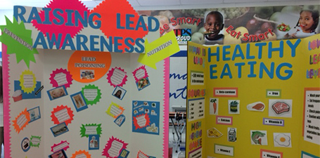 display board with facts on lead poisoning