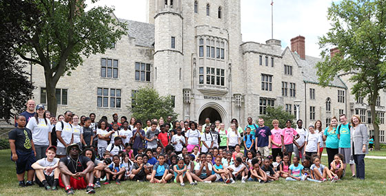 group photo of national youth sports program on UToledo campus