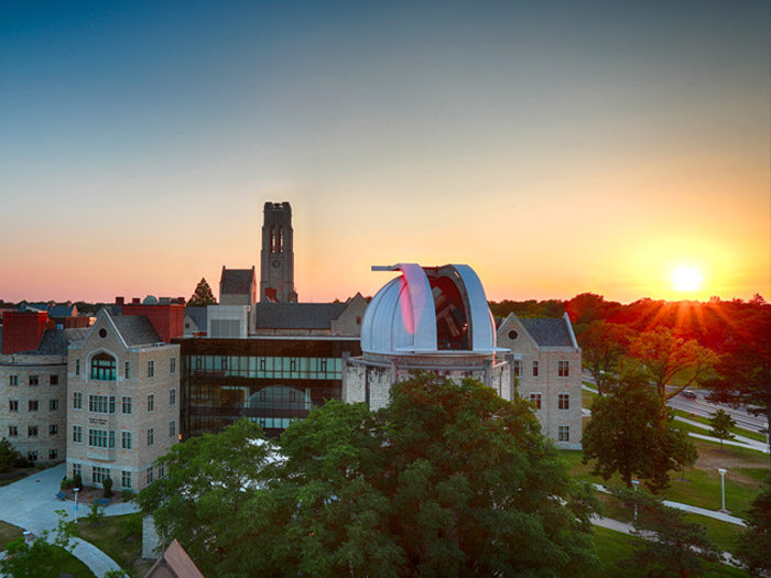 University skyline at sunset