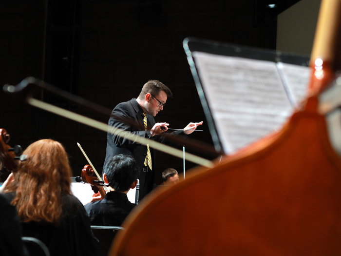 Conductor directing the orchestra