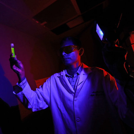 Dr. Ajith Karunarathne studies blue light at The University of Toledo