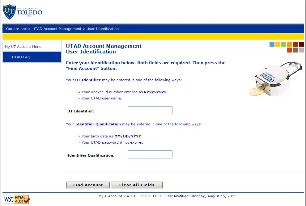MyUTAccount Screen
