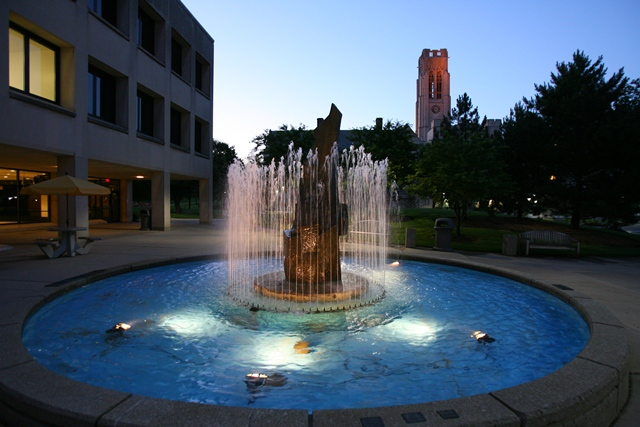 Fountain outside Studnet Union on Main Campus