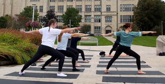 Yoga on Centennial Mall