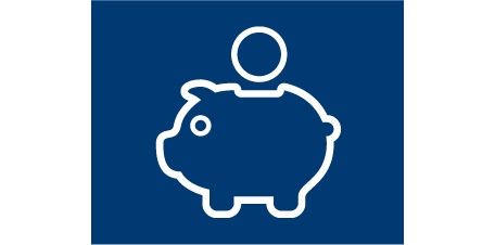 Icon of a piggy bank representing financial