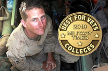 US Armed Forces member and Best School for Vets Award seal 2019