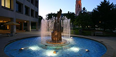 Fountain in Centennial Mall by the Student Union