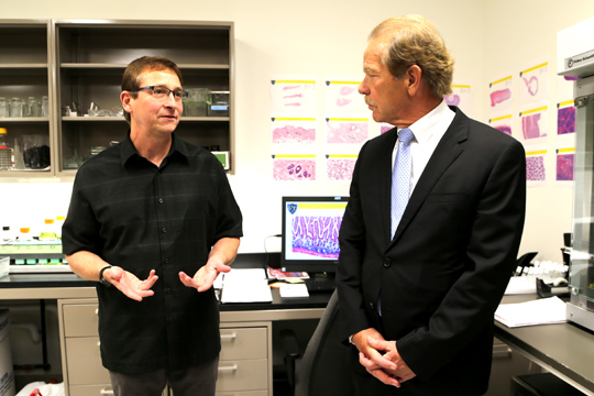 Allen Schroering, Histology lab manager and Randy Oostra, ProMedica President and CEO