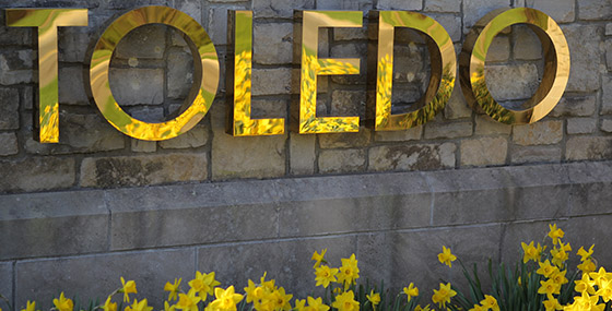 University of Toledo sign at campus entrance
