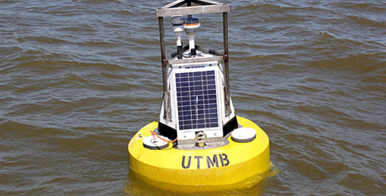 The University of Toledo water buoy on Lake Erie