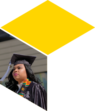 Woman wearing a cap and gown