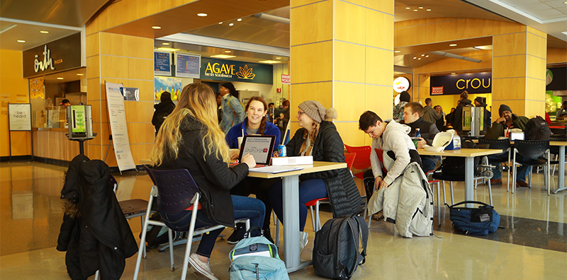 Students dining in food court