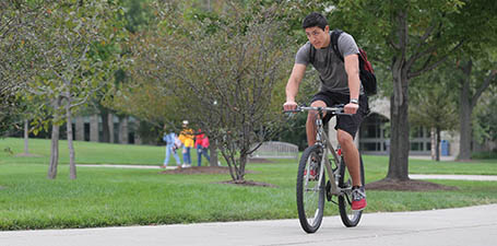 summer classes at UT - bicycling on campus