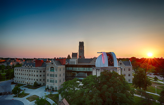 The University of Toledo's campus at sunset